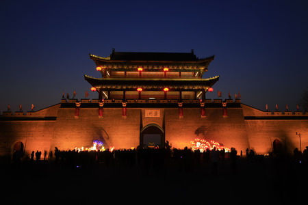 city and county building: LUAN COUNTY - MARCH 5: Luan State Ancient City Gate building scenery, on march 5, 2015, Luan County, Hebei Province, China Editorial