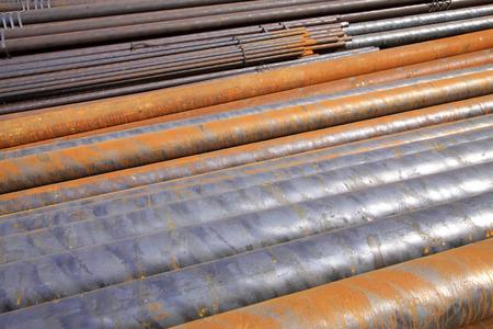 steel pipe: Oxidation rust steel pipe, closeup of photo