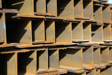 steel sheet: rolled steel pile up together, closeup of photo Stock Photo