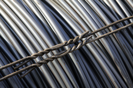 commodities: steel bar at the construction site, closeup of photo