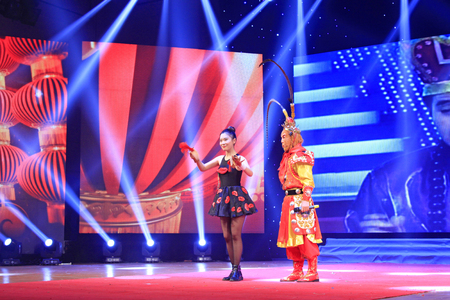 stage props: LUANNAN COUNTY- FEBRUARY 13: Monkey show performance scene, on February 13, 2015, Luannan, Hebei Province, china.