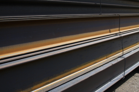 steel plate: rolled steel pile up together, closeup of photo Stock Photo