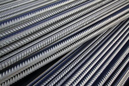 deformed steel bar piled up together, close up of photo