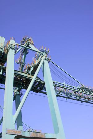 crane parts: port container crane parts, close up of photo