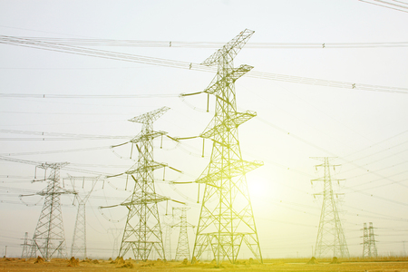 power industry: Electrical towers and power lines, closeup of photo