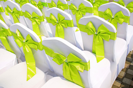 lustre: White chair and Green bowknot, closeup of photo