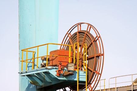 crane parts: port container crane parts, closeup of photo