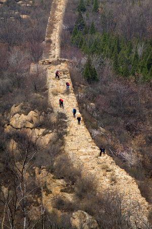 the great wall: Ming Great Wall building scenery, China Editorial