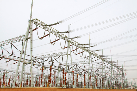 power distribution: Electric power equipment in a substation, closeup of photo Stock Photo