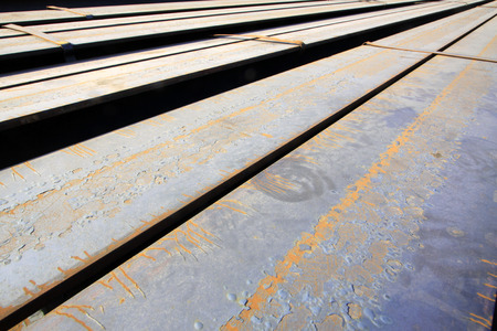 to pile up: rolled steel pile up together, closeup of photo Stock Photo