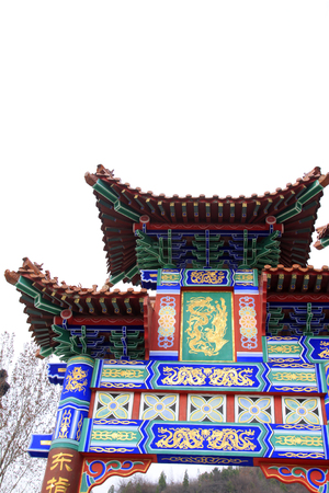 architectural style: Chinese architectural style memorial arch, closeup of photo Stock Photo