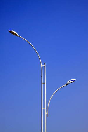 street lamps: Street lamps in the blue sky background, closeup of photo Stock Photo