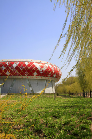 appearance: Luannan county - April 7: Art museum architectural appearance, on April 7, 2015, luannan county, hebei province, China