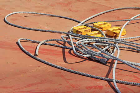 strong toughness: steel wire rope, closeup of photo