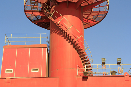 spiral staircase: portal crane spiral staircase, closeup of photo