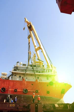 jib: TIANJIN PORT - MARCH 23: seal 7 Exploration ship on a large cargo, on March 23, 2015, tianjin port, tianjin, China. Editorial