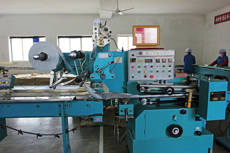 mechanization: Sinuiju - March 28: Soap factory production workshop, on March 28, 2015, sinuiju, north Korea.