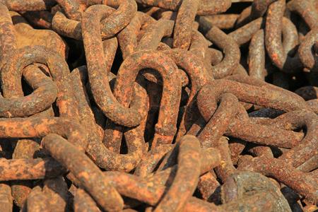 oxidize: oxidize iron chains, closeup of photo Stock Photo