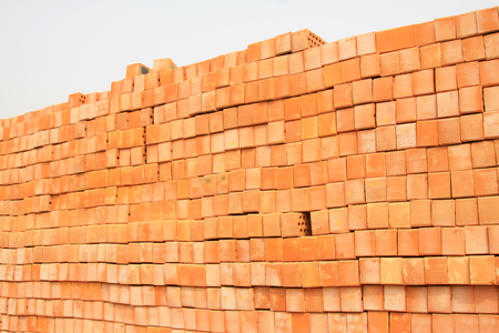 hollow wall: red hollow brick, closeup of photo Stock Photo