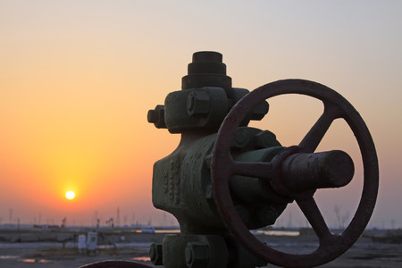 shunt: Jidong oilfield sunset scenery, Hebei Province, China Stock Photo
