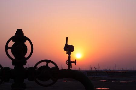 Jidong oilfield sunset scenery, Hebei Province, China Stock Photo