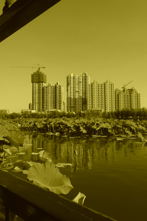 greening: Building by the lake, in a park Stock Photo