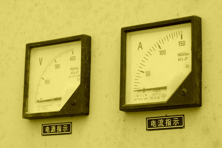 ammeter: ammeter and voltmeter in a machinery at a construction site