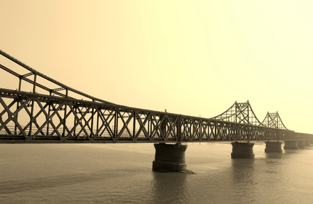 The china-dprk friendship bridge architecture, dandong city, liaoning province, China