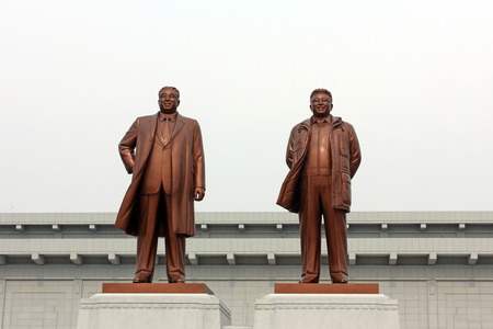 authoritative: Sinuiju - March 28: Kim il-sung and Kim jong-il statue, on March 28, 2015, sinuiju, north Korea.