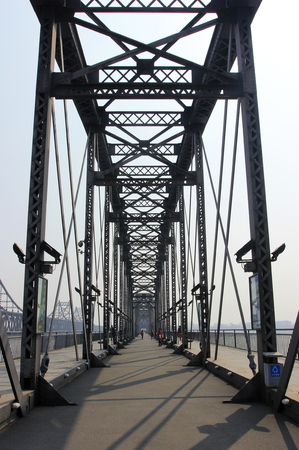 historic sites: yalu river broken bridge building landscape, historic sites, China