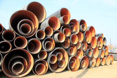 plastic pipe: Plastic pipe pile up together, closeup of photo
