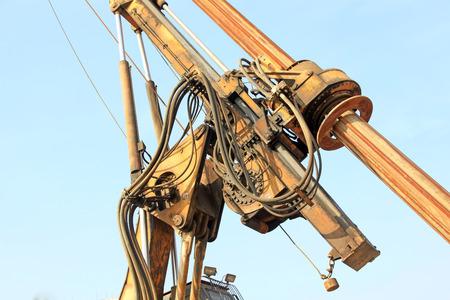 hydraulic: Crane hydraulic control device, closeup of photo