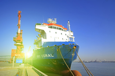 freighter: TIANJIN PORT - MARCH 23: freighter moored in the terminal yard, on March 23, 2015, tianjin port, tianjin, China. Editorial
