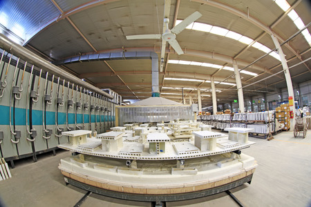 deformity: Luannan - May 31: Sintering workshop production line view in ceramic company, on May 31, 2015, luannan county, hebei province, China Editorial