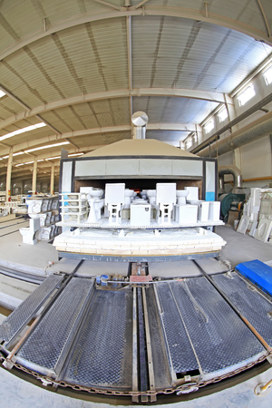 deformity: ceramic sintering workshop production line in a factory, closeup of photo Editorial