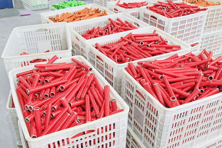 spindles: plastic material spindles rollers, closeup of photo Stock Photo