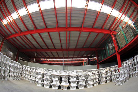 semifinished: ceramic semi-finished products warehouse in a factory, closeup of photo Stock Photo