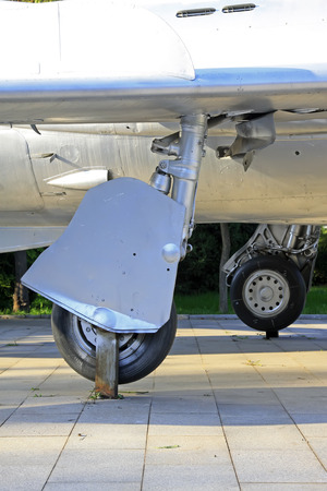 aluminum wheels: fighter landing gear, closeup of photo