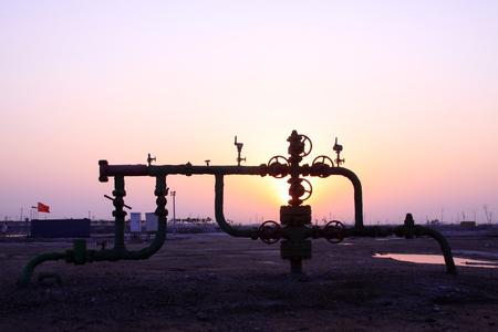 light transmission: Jidong oilfield sunset scenery, Hebei Province, China Stock Photo