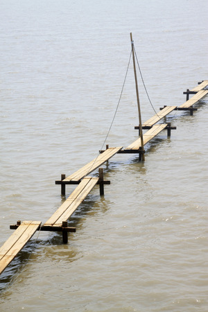 trestle: trestle in water, closeup of photo Stock Photo