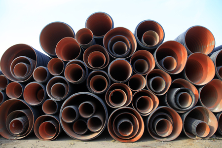 kunststoff rohr: Plastic pipe pile up together, closeup of photo
