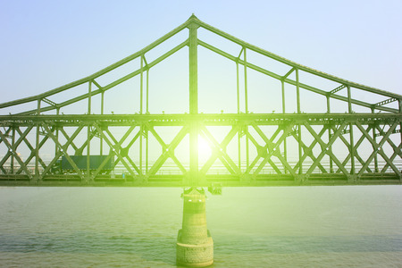 dazzle: The china-dprk friendship bridge architecture, dandong city, liaoning province, China