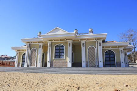 travel features: Building on the beach in a park, closeup of photo