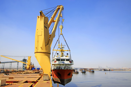 jib: TIANJIN PORT - MARCH 23: seal 7 Exploration ship was about to enter the water, on March 23, 2015, tianjin port, tianjin, China. Editorial