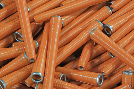 plastic material: plastic material spindles rollers, closeup of photo Stock Photo