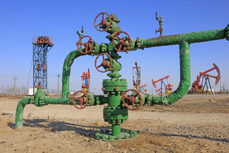 pumping unit: Oil pipeline and pumping unit, closeup of photo Stock Photo