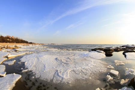 polar environment: sea ice natural scenery in winter, closeup of photo