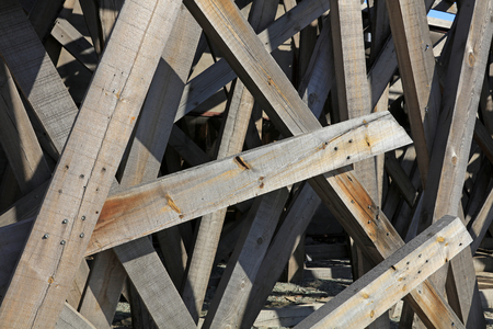 disorderly: Wood stacked together, closeup of photo
