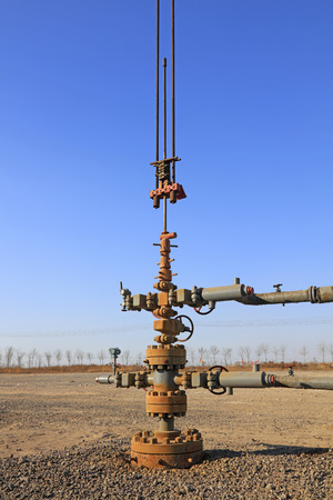 mechanization: Oil pipeline and equipment, closeup of photo