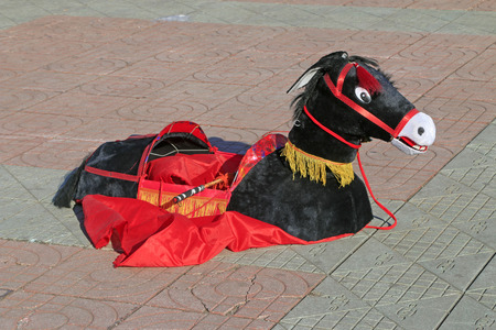 props: Chinese traditional style yangko folk dance donkey props in the street, luannan County, hebei Province, China
